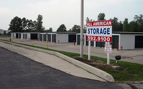 Street-level view of the All-American Storage facility in Bellefontaine, Ohio, owned by The Leathery Company.