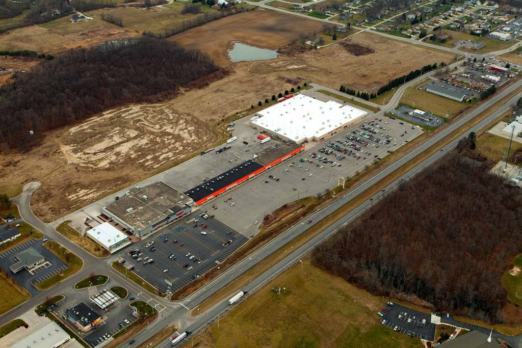Aerial view of the Towne & Country Shopping Center in Columbia City, Indiana