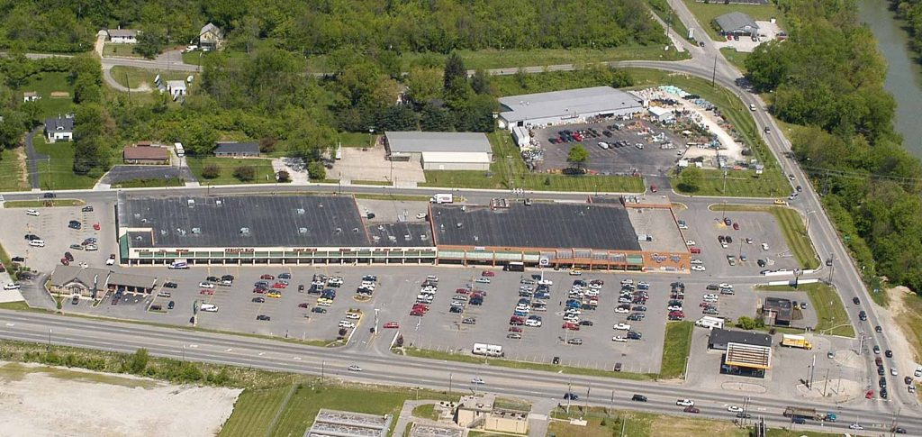 Aerial view of Dearborn Shopping Center in Lawrenceburg, Indiana is part of The Leathery Company portfolio.