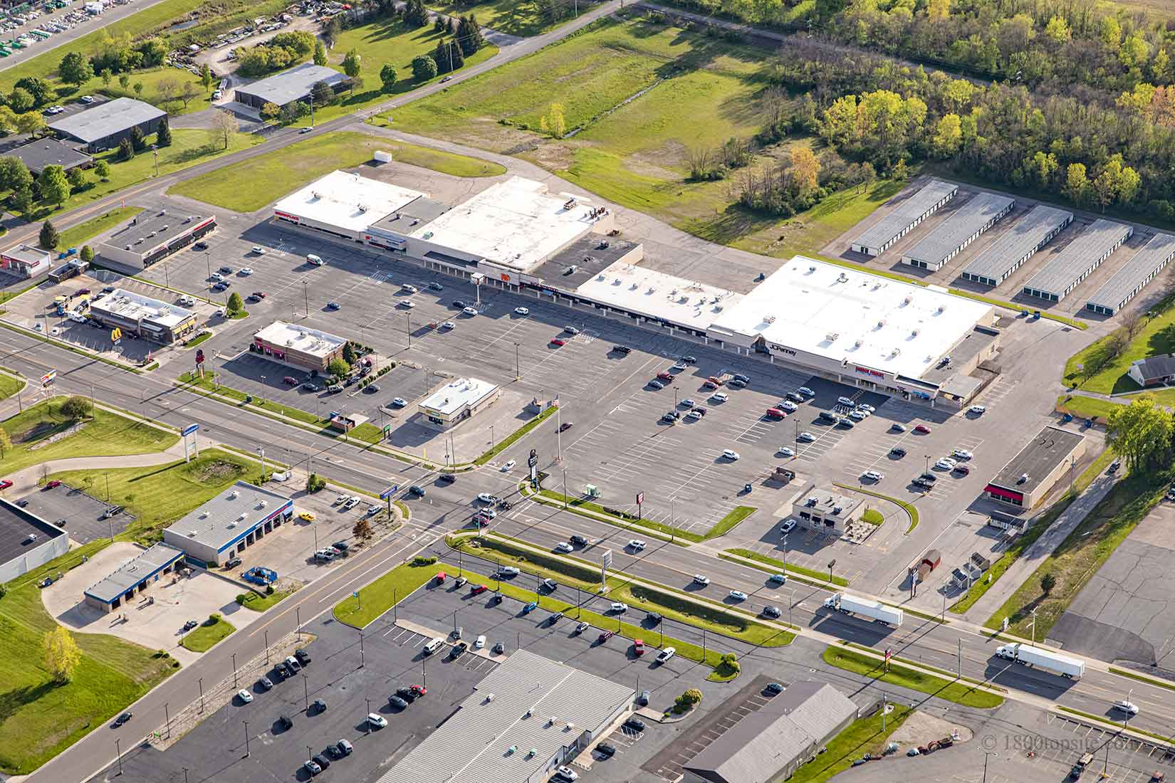 Aerial view of shopping center - Fountaine Plaza in Bellefontaine, Ohio
