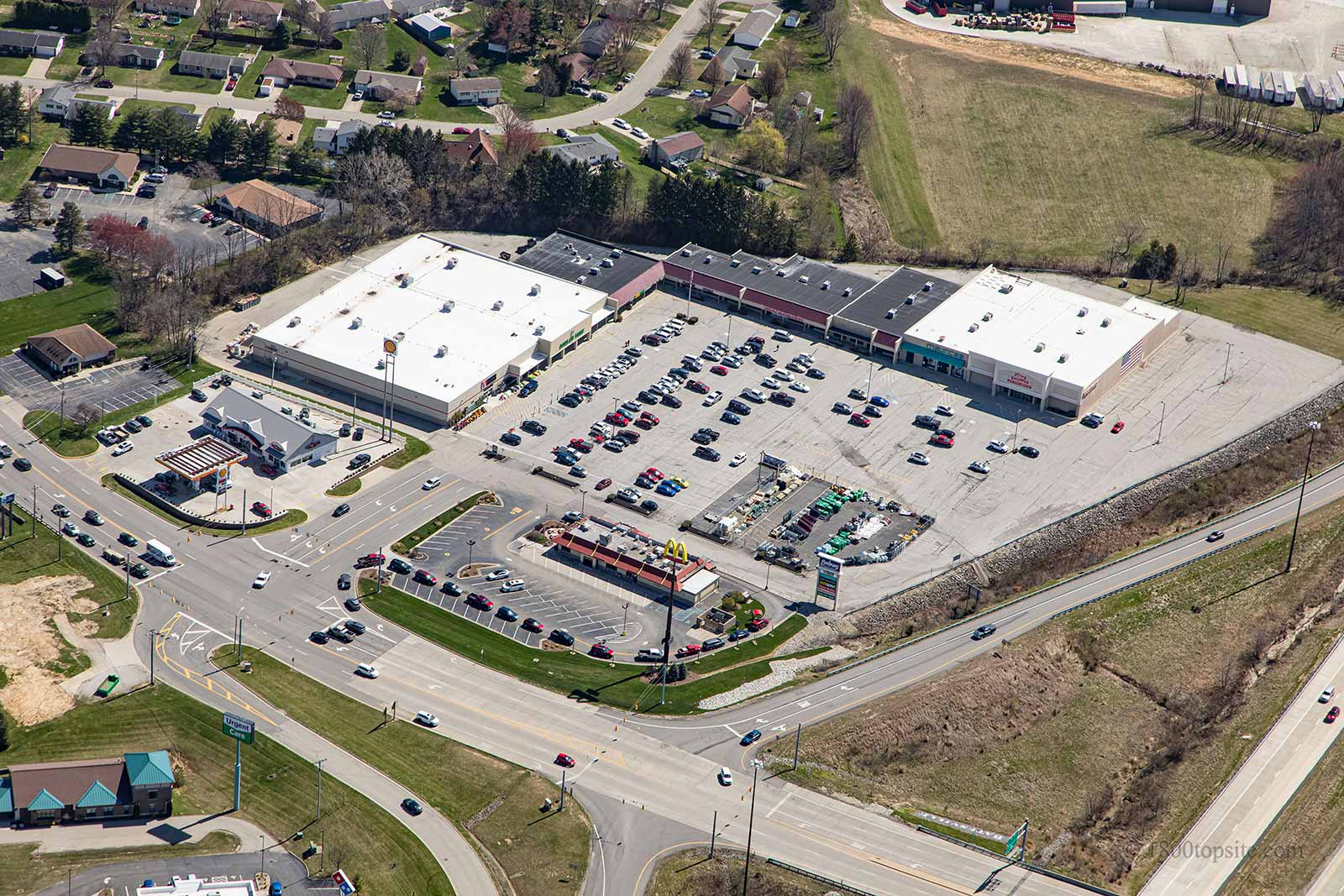 Aerial view of Cross County Plaza shopping center in Batesville, Indiana.