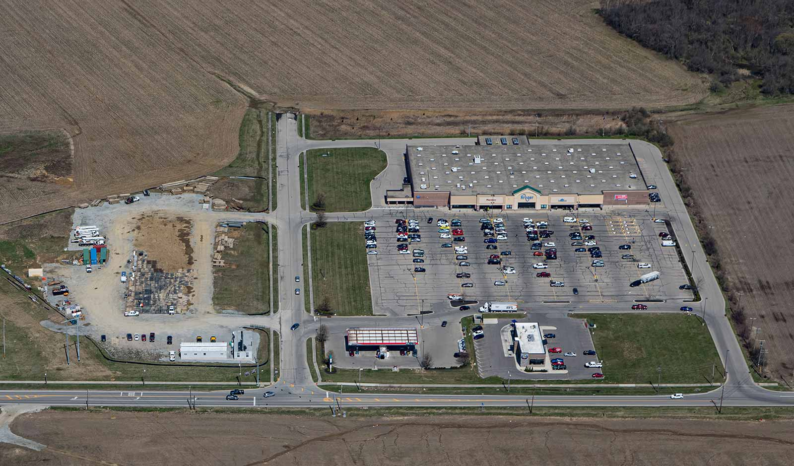 Aerial view of Wildcat Crossing shopping center in Blanchester.