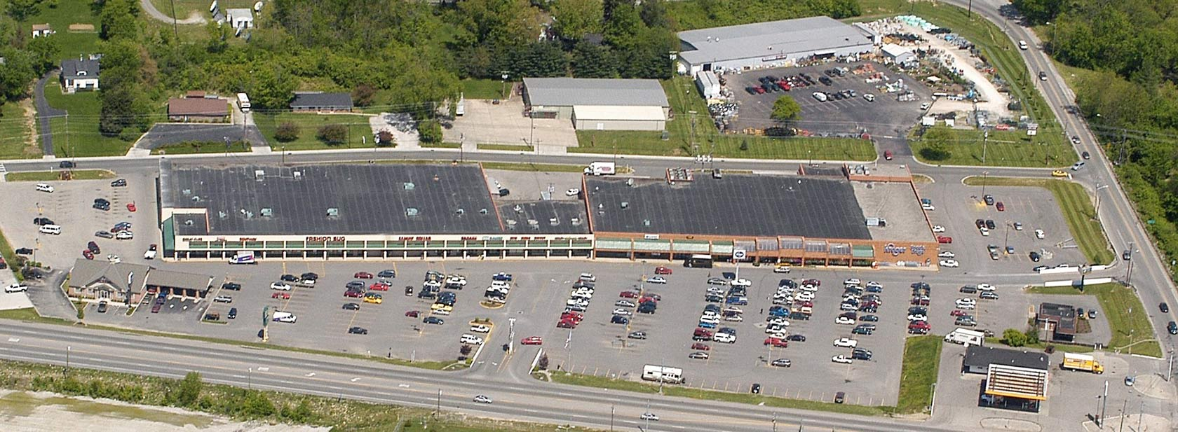 Aerial view of Dearborn Shopping Center in Lawrenceburg, Indiana, owned and managed by The Leathery Company.