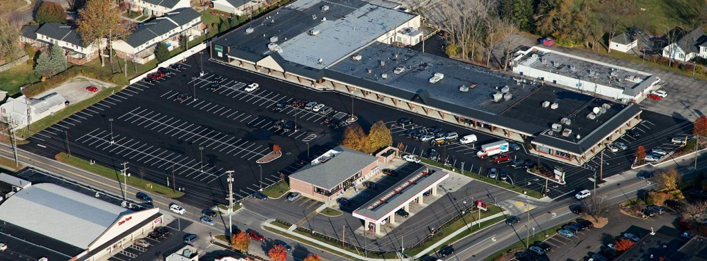 Aerial view of the Georgetown Shopping Center in Delaware, Ohio owned and managed by The Leathery Company.