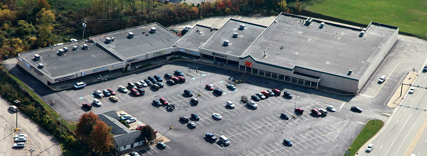 Aerial view of Unity Plaza in Latrobe, Pennsylvania owned and managed by The Leathery Company.