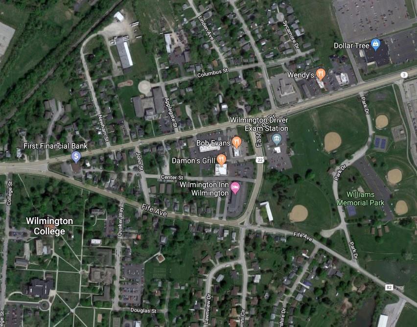 Donatos Shopping Center in Wilmington, Ohio - aerial view.